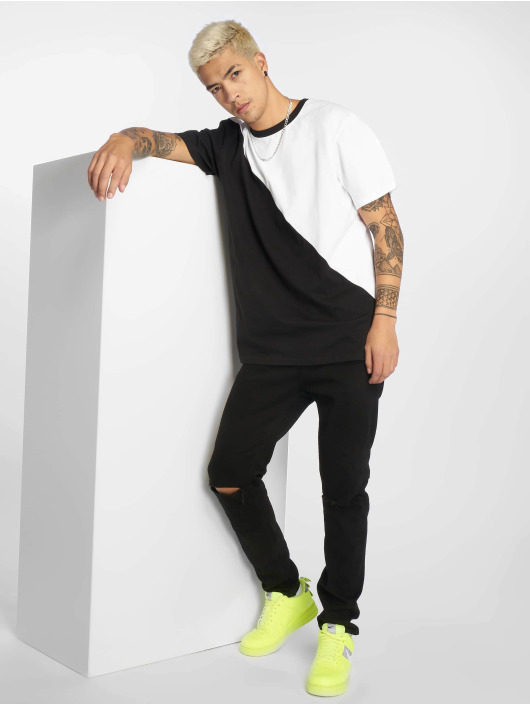 Urban Classics T-shirt Oversize Asymmetric Harlequin vit
