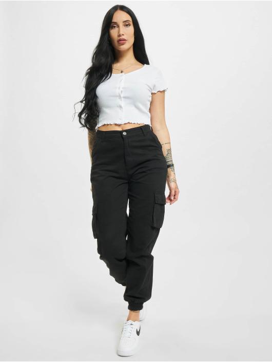 Urban Classics T-shirt Cropped Button Up Rib vit