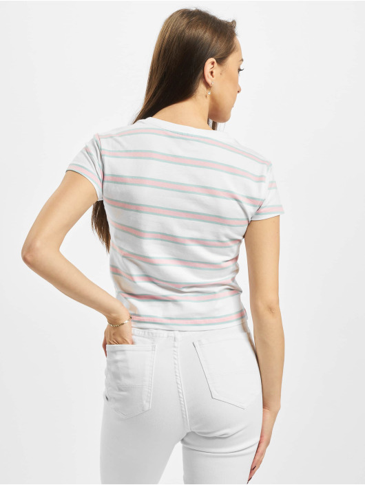 Urban Classics T-Shirt Ladies Stripe Cropped white