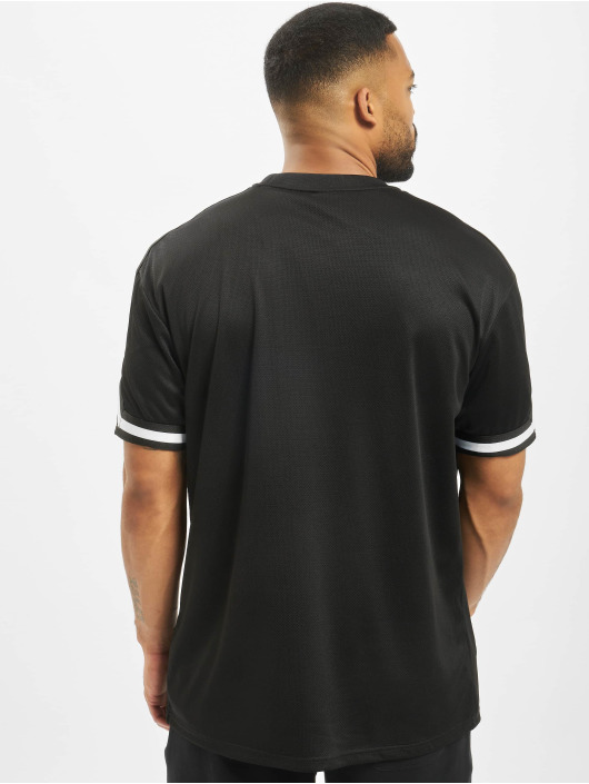 Urban Classics t-shirt Oversized Stripes Mesh zwart