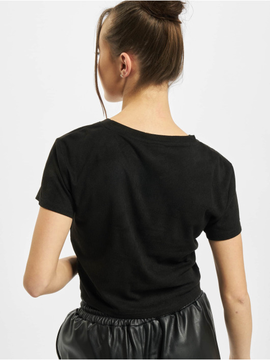 Urban Classics t-shirt Ladies Cropped Peached Rib zwart