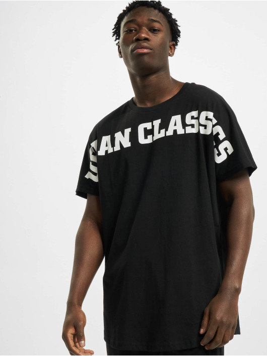 Urban Classics t-shirt Long Shaped Big Logo Tee zwart