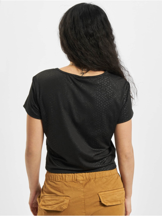 Urban Classics t-shirt Ladies Stretch Pattern Cropped Tee zwart