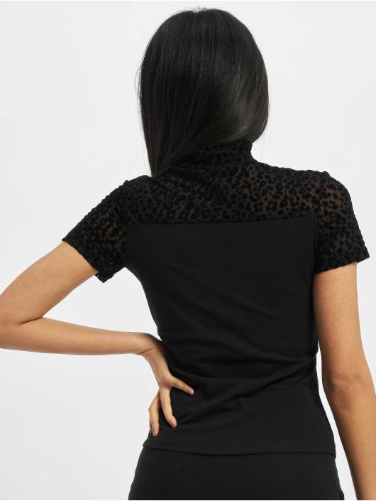 Urban Classics t-shirt Ladies Flock Lace Turtleneck Tee zwart