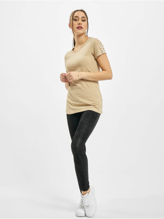 Urban Classics T-shirts Ladies Lace Shoulder Striped Tee beige