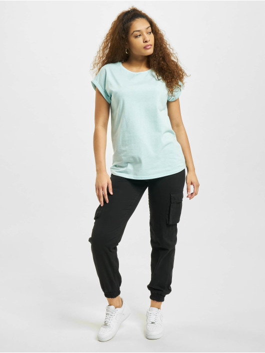 Urban Classics T-shirts Color Melange Extended Shoulder blå