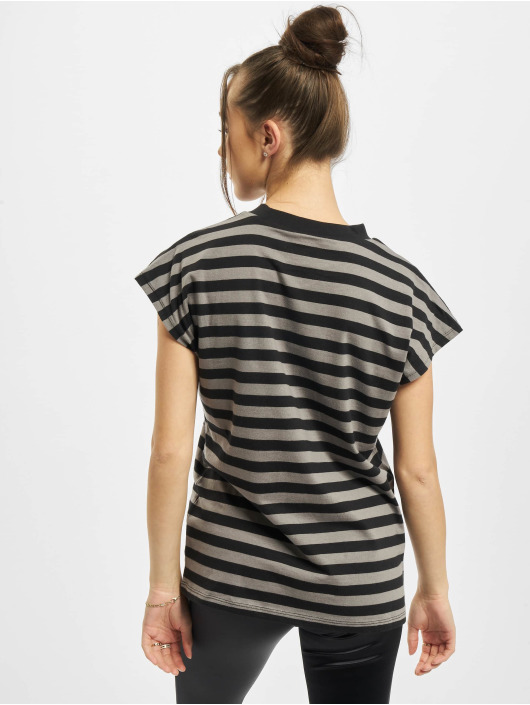 Urban Classics T-shirts Ladies Y/D Stripe Tee grå