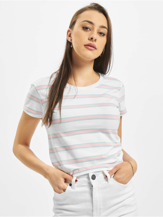 Urban Classics T-shirts Ladies Stripe Cropped hvid