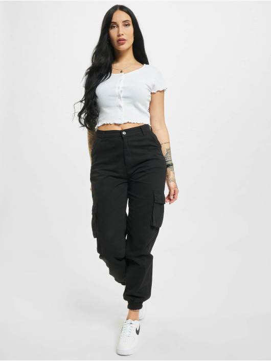 Urban Classics T-shirts Cropped Button Up Rib hvid