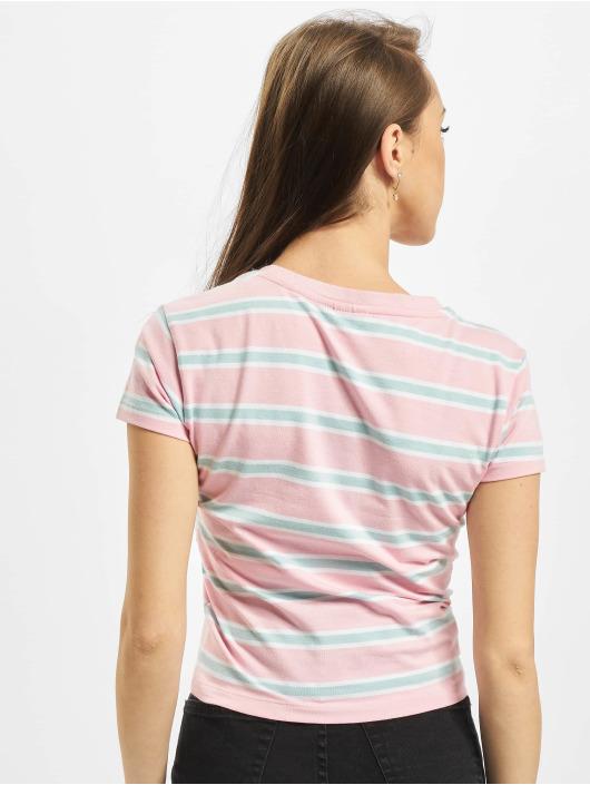 Urban Classics T-shirts Ladies Stripe Cropped pink
