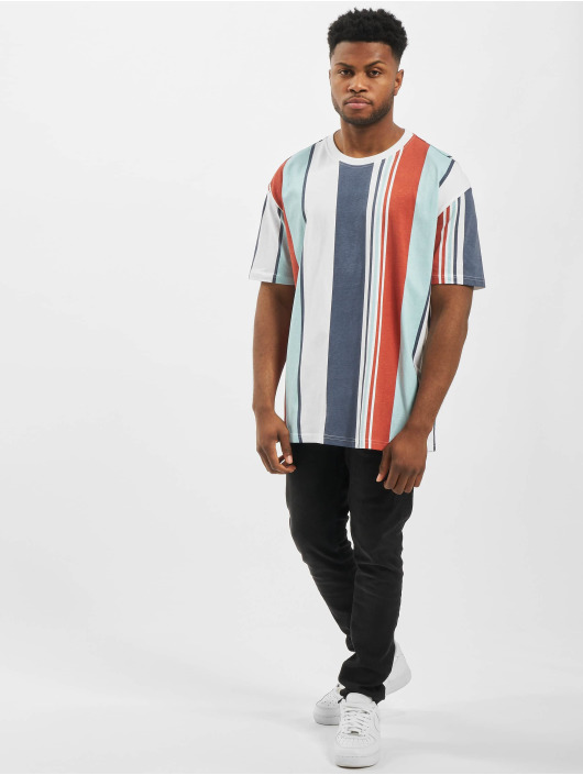 Urban Classics T-shirts Heavy Oversized Big All Over Print Stripe rød