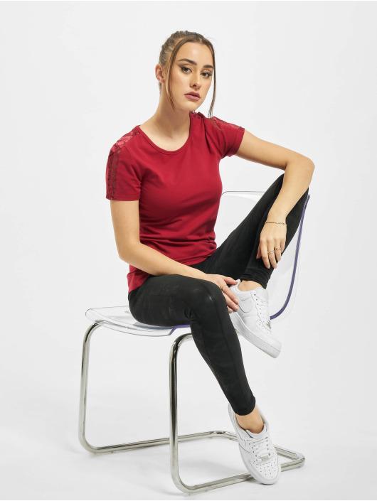 Urban Classics T-shirts Ladies Lace Shoulder Striped Tee rød