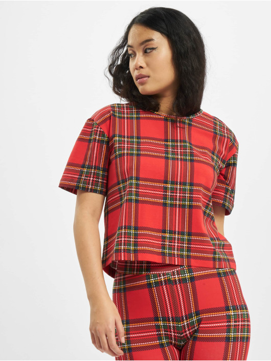Urban Classics T-shirts Ladies AOP Tartan Short Oversized Tee rød
