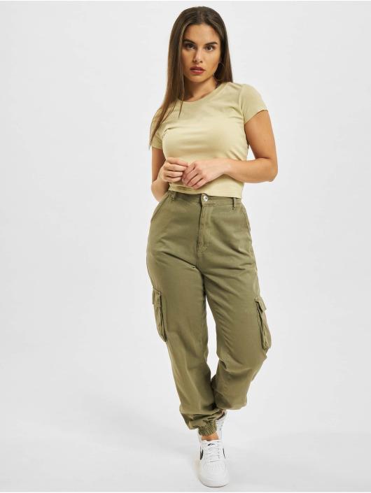 Urban Classics T-Shirty Stretch Jersey Cropped bezowy