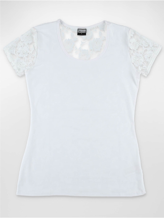 Urban Classics T-Shirty Ladies Back Laces bialy