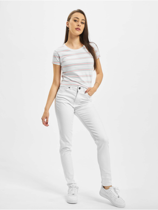 Urban Classics T-Shirty Ladies Stripe Cropped bialy