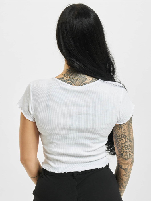 Urban Classics T-Shirty Cropped Button Up Rib bialy