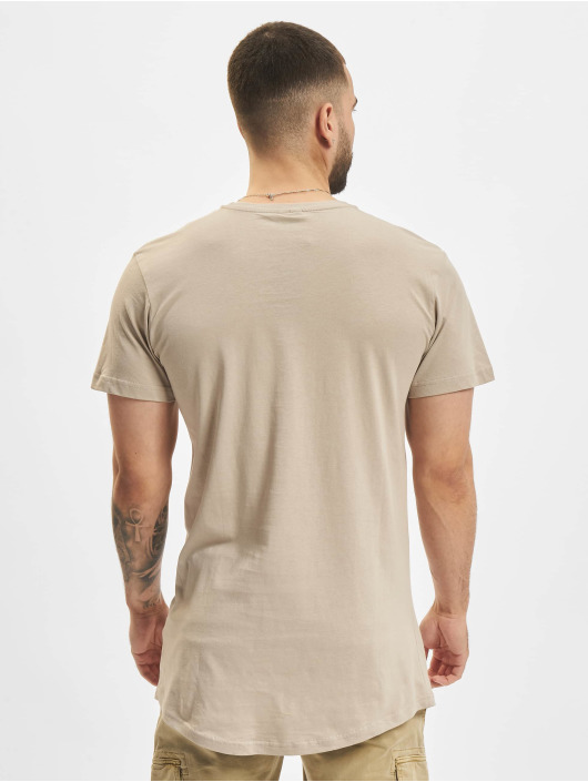 Urban Classics T-Shirty Shaped Long brazowy