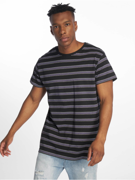 Urban Classics T-Shirty Multicolor Stripe czarny