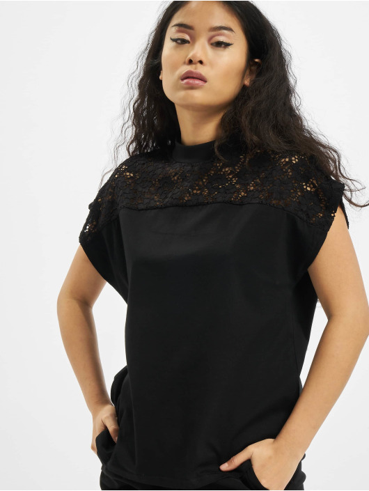 Urban Classics T-Shirty Lace Yoke czarny