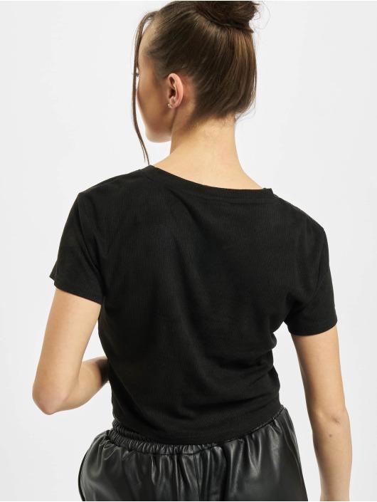 Urban Classics T-Shirty Ladies Cropped Peached Rib czarny