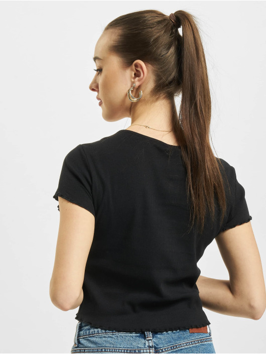 Urban Classics T-Shirty Cropped Button Up Rib czarny