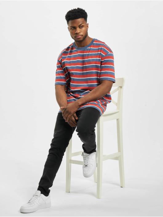 Urban Classics T-Shirty Yarn Dyed Oversized Board Stripe czerwony