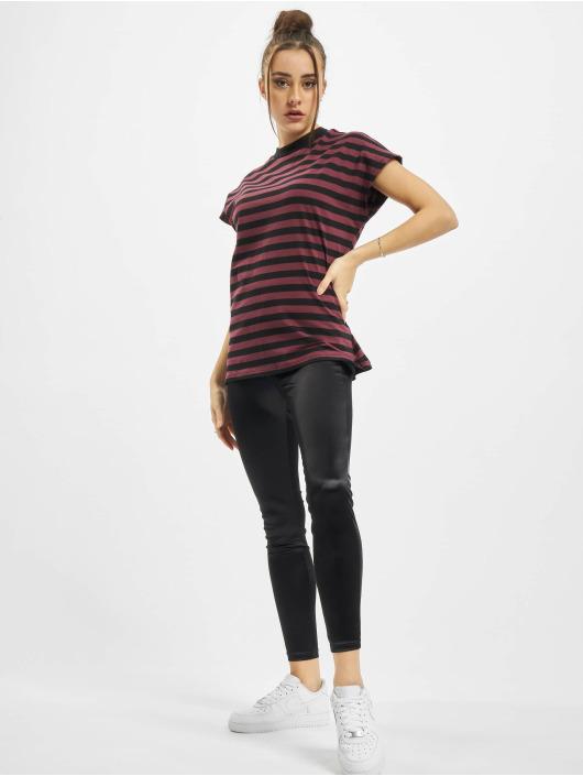 Urban Classics T-Shirty Ladies Y/D Stripe Tee czerwony