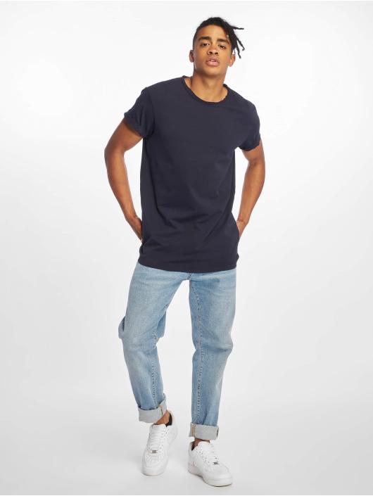 Urban Classics T-Shirty Pigment Dye High Low niebieski