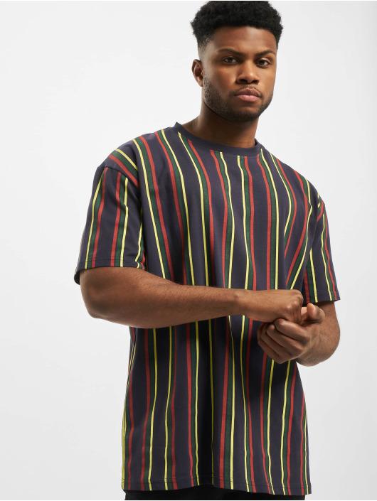 Urban Classics T-Shirty Printed Oversized Retro Stripe niebieski