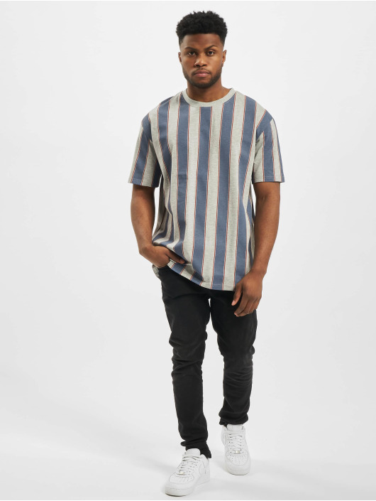 Urban Classics T-Shirty Printed Oversized Bold Stripe niebieski