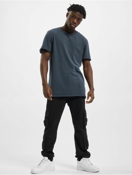 Urban Classics T-Shirty Open Edge Pigment Dyed Basic niebieski