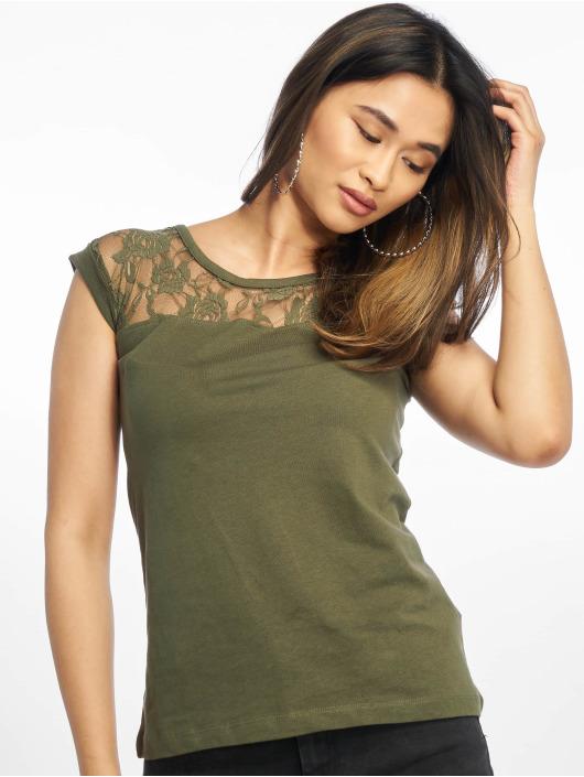 Urban Classics T-Shirty Top Laces oliwkowy