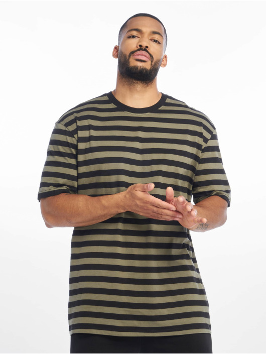 Urban Classics T-Shirty Oversized Yarn Dyed Bold Stripe oliwkowy