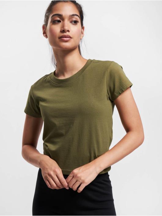 Urban Classics T-Shirty Stretch Jersey Cropped oliwkowy