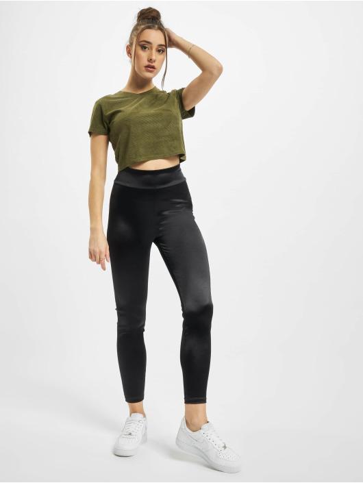 Urban Classics T-Shirty Ladies Cropped Peached Rib Tee oliwkowy