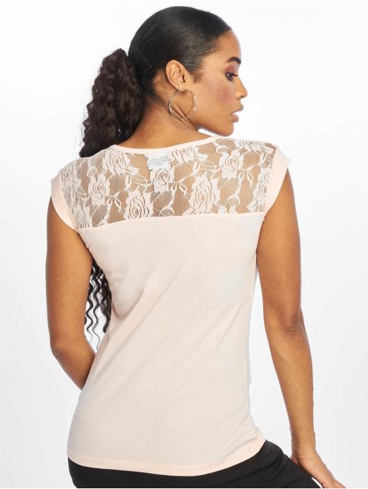 Urban Classics T-Shirty Top Laces rózowy