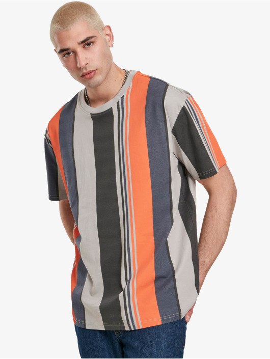 Urban Classics T-Shirty Heavy Oversized Big All Over Print Stripe szary