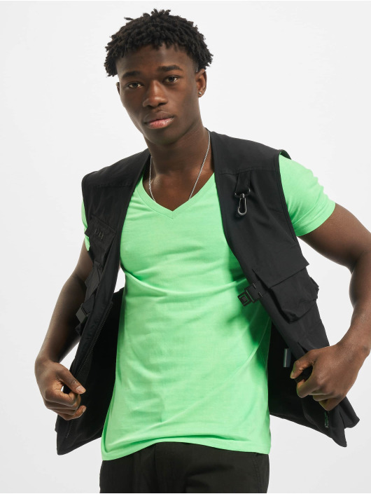 Urban Classics T-Shirty Neon V-Neck zielony
