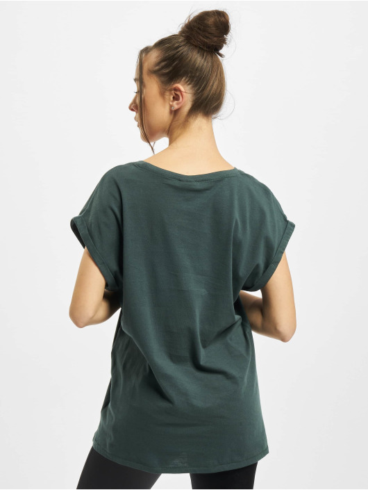 Urban Classics T-Shirty Ladies Extended Shoulder zielony