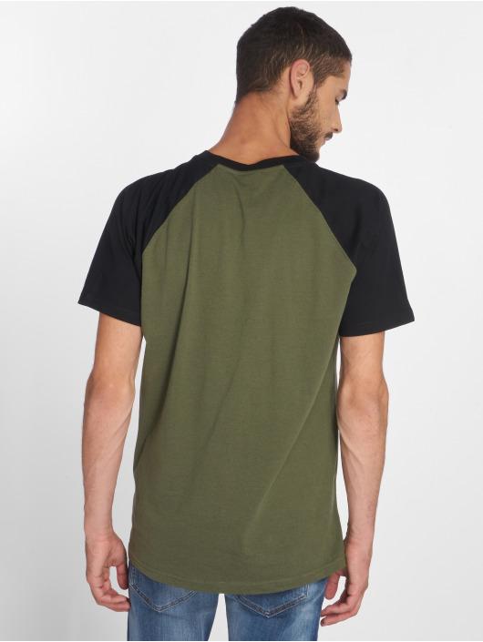 Urban Classics T-skjorter Raglan Contrast oliven
