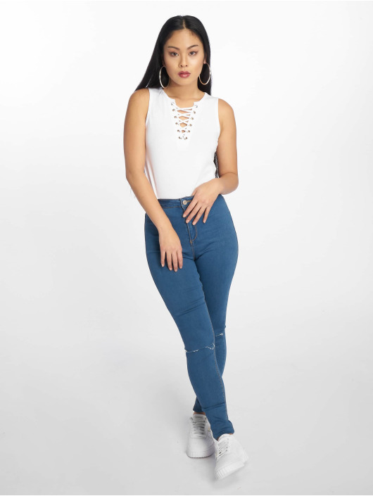 Urban Classics Tank Tops Lace Up Cropped blanco