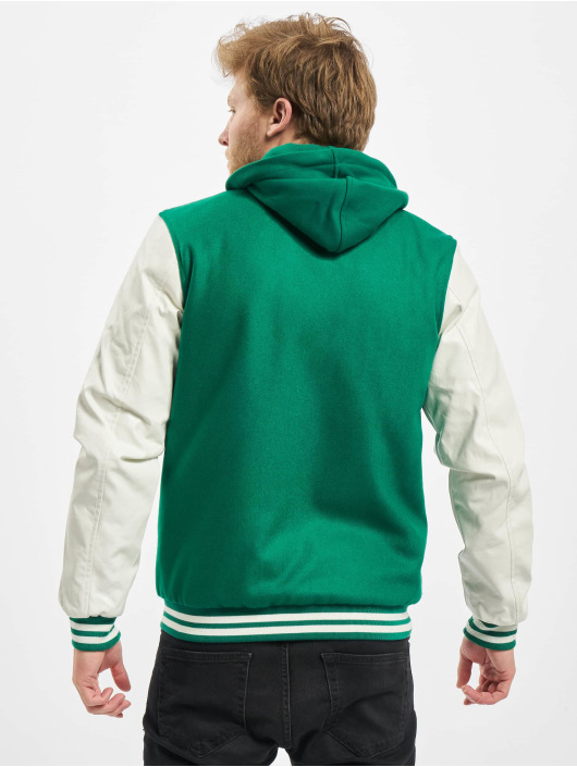 Urban Classics Hooded Oldschool College Jacket GreenWhite