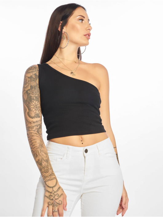 Urban Classics Top Cropped Asymmetric schwarz