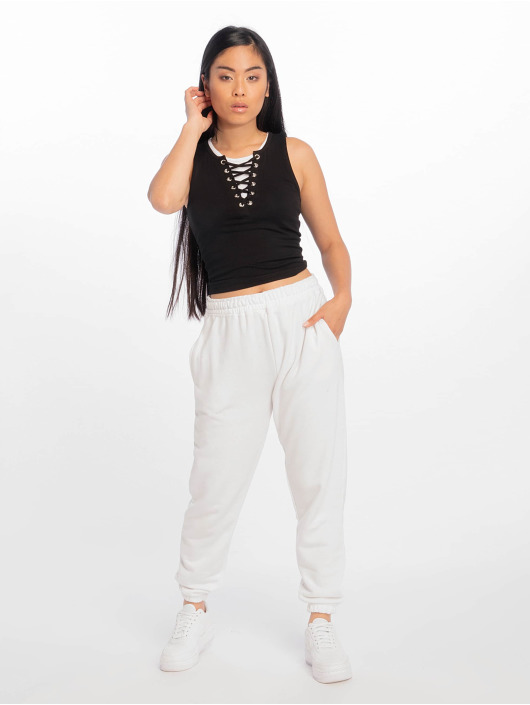 Urban Classics top Laced Up Cropped zwart