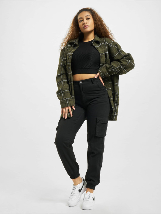 Urban Classics top Ladies Cropped Shiny zwart