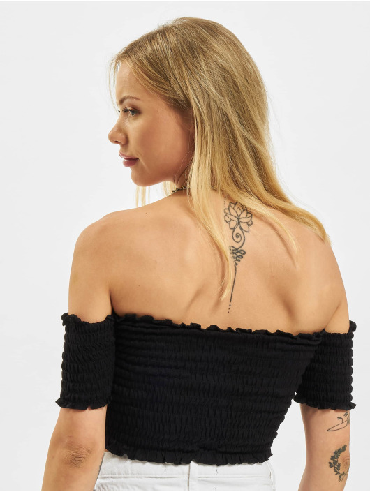 Urban Classics Topper Cold Shoulder Smoke Cropped svart