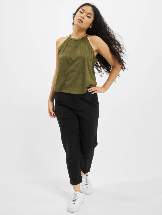 Urban Classics Tops sans manche Ladies Peached Rib Neckholder olive