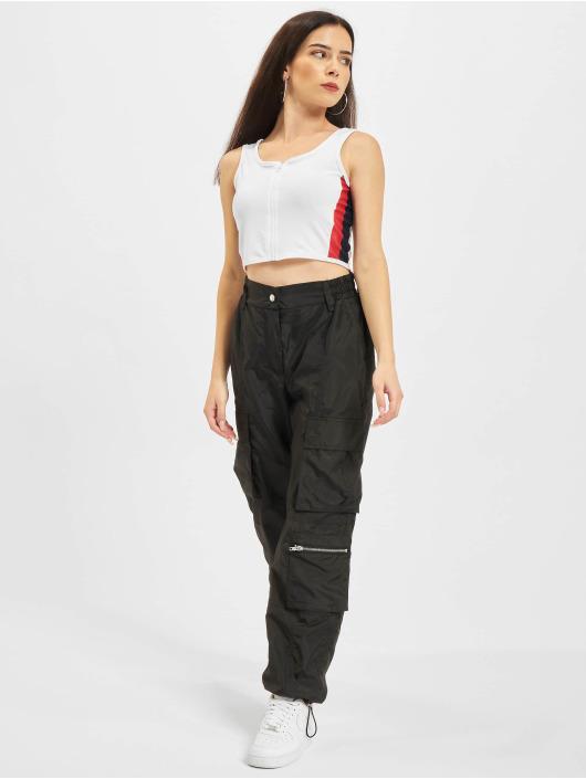 Urban Classics Tops Side Stripe Crop Zip bialy