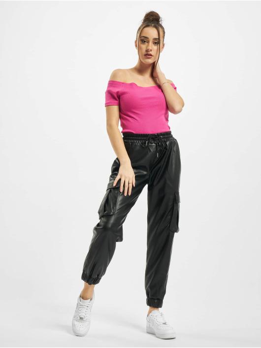 Urban Classics Topy Ladies Off Shoulder Rib růžový